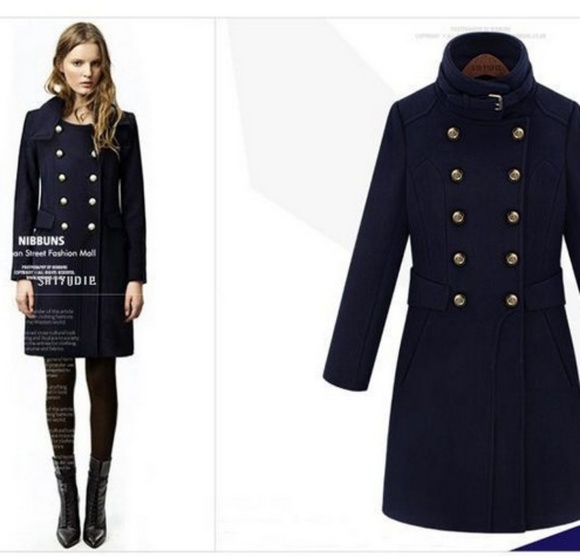 Military Coat Navy Blue High Collar Gold Buttons NWT